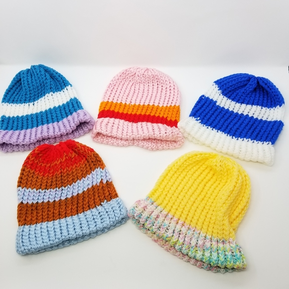 Five Handmade Knit Beanie Set! Family Friends Gift